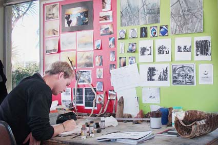 Student Justin Roberts at his workspace in Studio 1: Photographed by Shanna Paxton